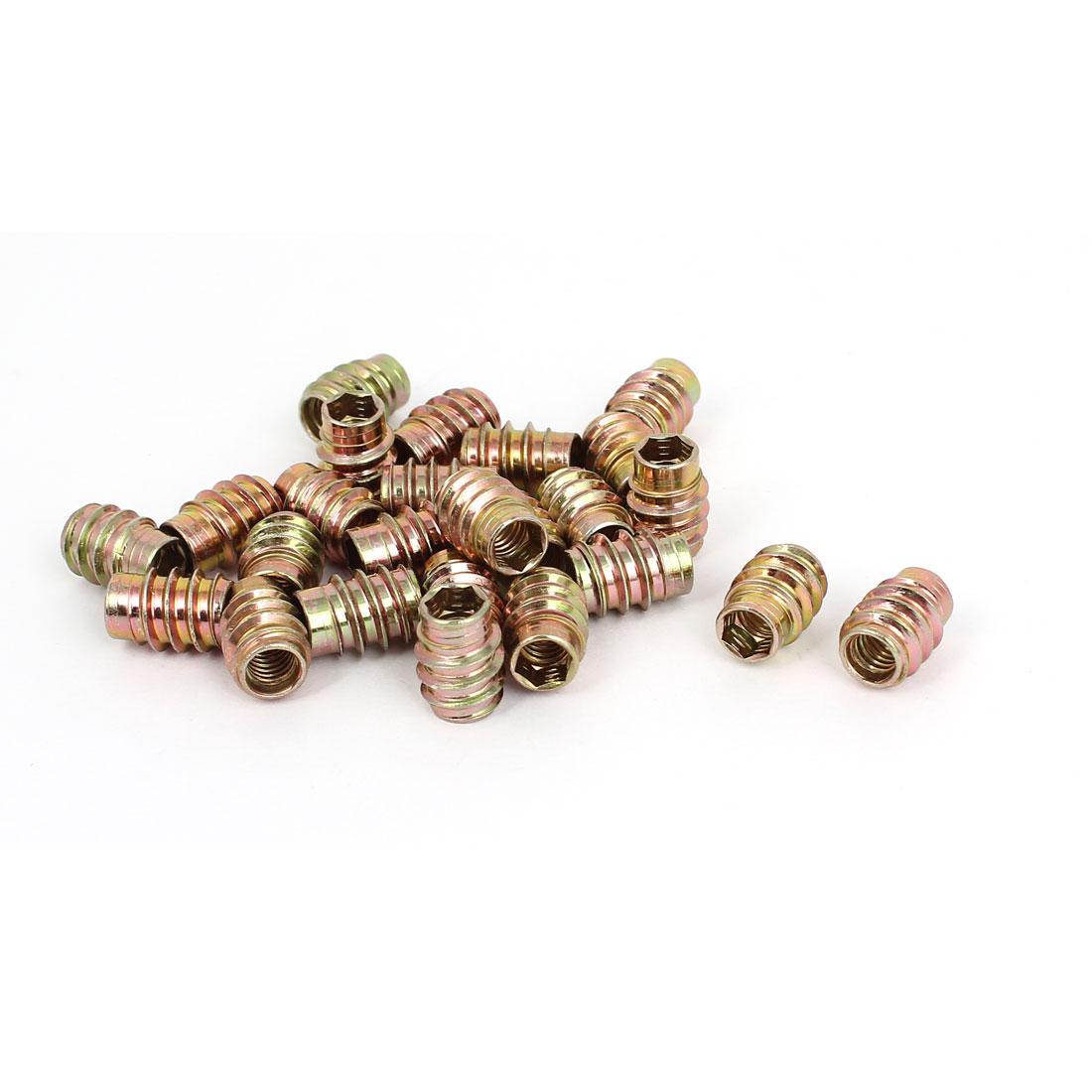 Furniture Fittings M6 Hex Socket Dowel Insert E-Nut Screws Nuts 15mm Long 25 Pcs