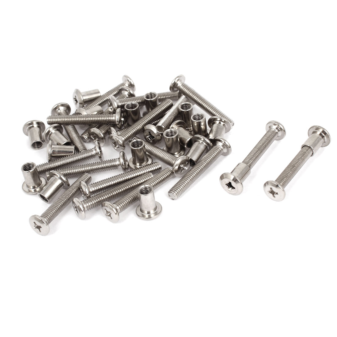 Furniture Hardware 6mmx40mm Phillips Countersunk Screw Bolts Barrel Nuts 20 Sets