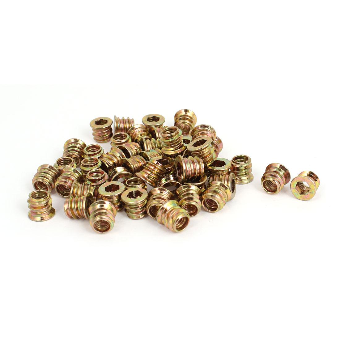 Furniture M6x10mm E-Nut Wood Insert Interface Screws Hexagonal Socket Nuts 50pcs