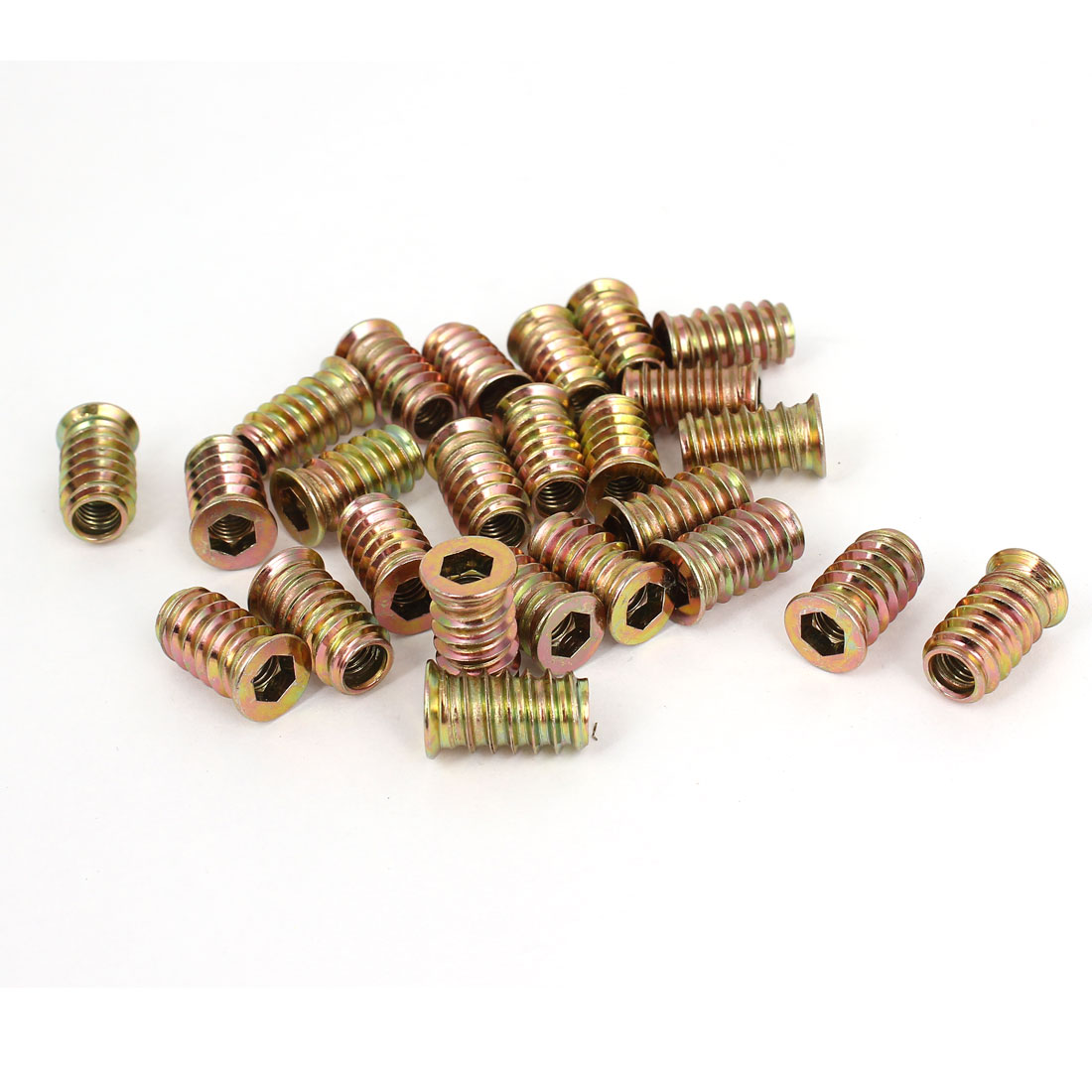 25 Pcs M6 E-Nut Wood Insert Interface Screws Furniture Hexagonal Socket Nuts