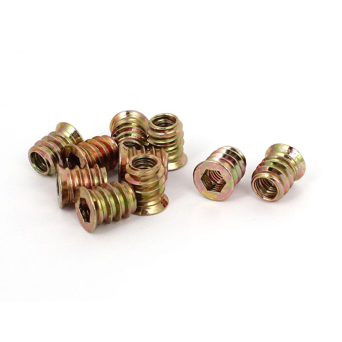 10 Pcs M6x13mm Hexagon Socket Head Insert E-Nut Shelf Leg Support Screw Nuts