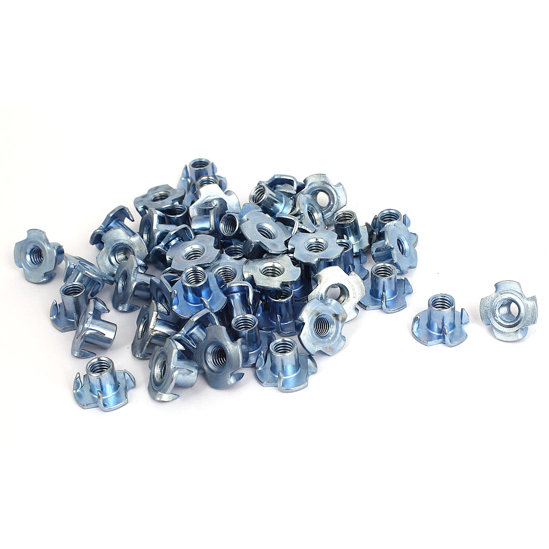 50 Pcs 5mmx10mmx17mm Metal 4 Prong Tee Nuts Connecter Furniture Fittings