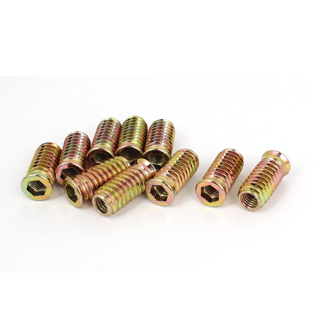 Furniture 8mmx30mm E-Nut Wood Insert Interface Screws Hex Socket Nuts 10 Pcs