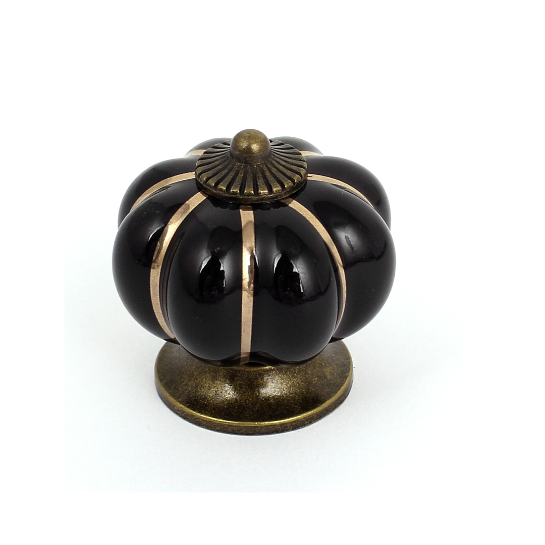 Cabinet Dresser Drawer Ceramic Pumpkin Knob Pull Handle Grip Black Bronze Tone