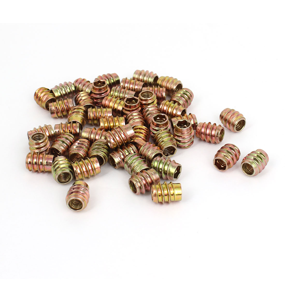 50 Pcs M6x13mm E-Nut Hexagonal Socket Screws Wood Insert Nuts for Furniture