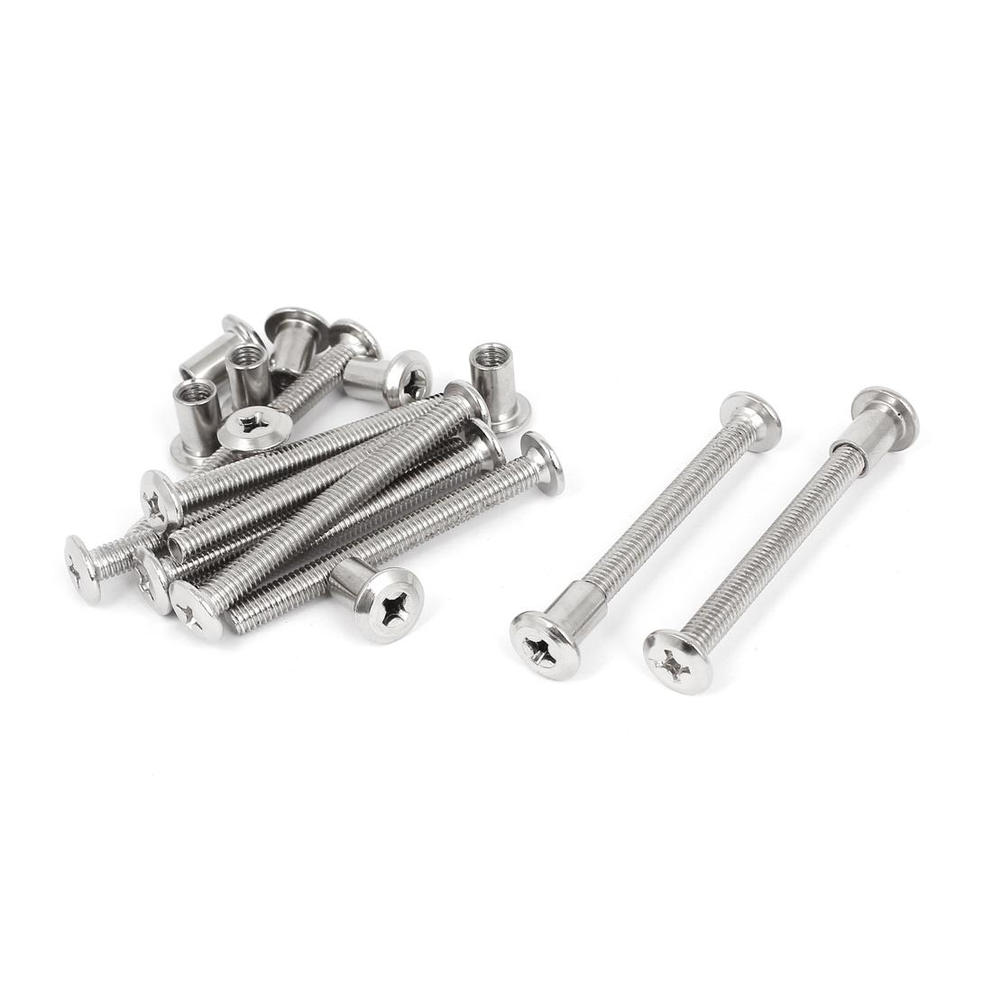 10 Sets 6mmx60mm Phillips Socket Countersunk Head Screw Bolts Dowel Barrel Nuts