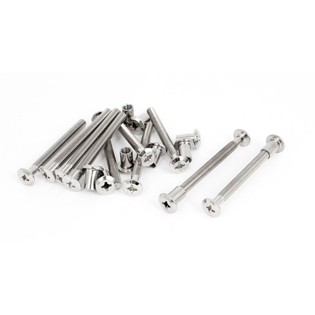 10 Sets 6mm x 65mm Phillips Socket Countersunk Screw Bolts Furniture Barrel Nuts