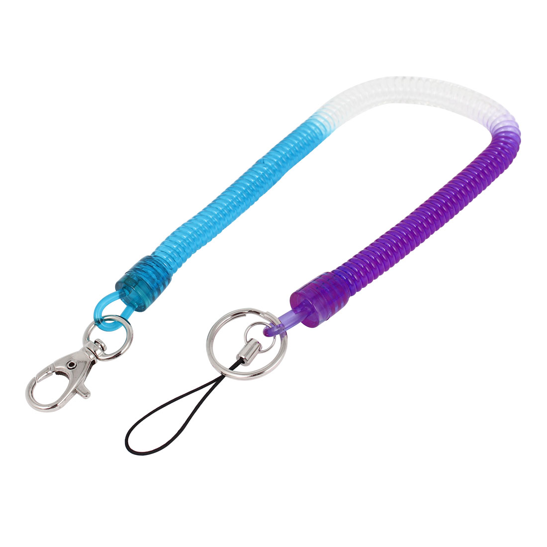 Tri-color Plastic Stretchy Spiral Spring Coiled Strap Lanyard for Phone Keys