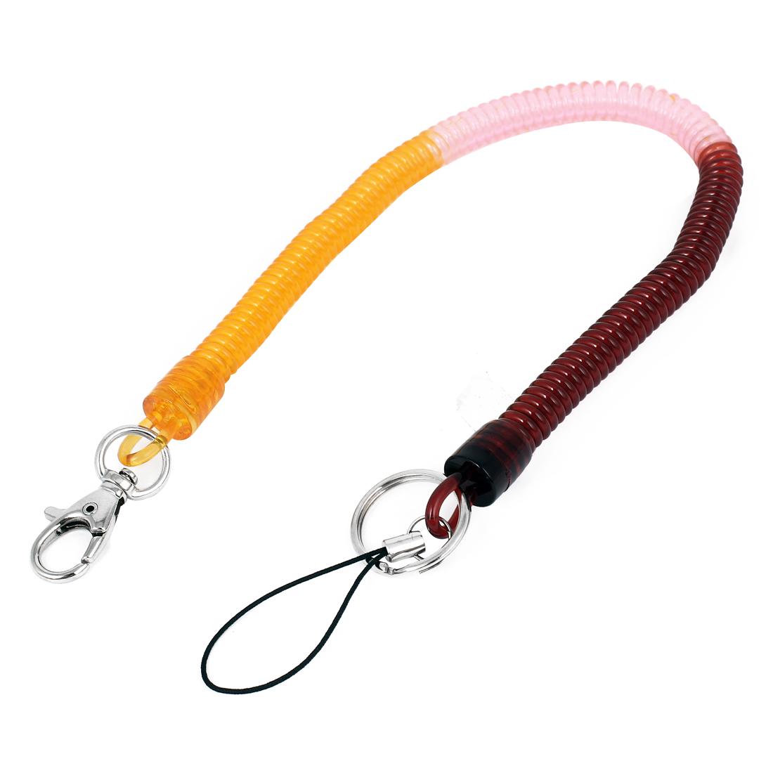 Burgundy Pink Orange Plastic Phone Stretchy Spiral Spring Coiled Strap Lanyard