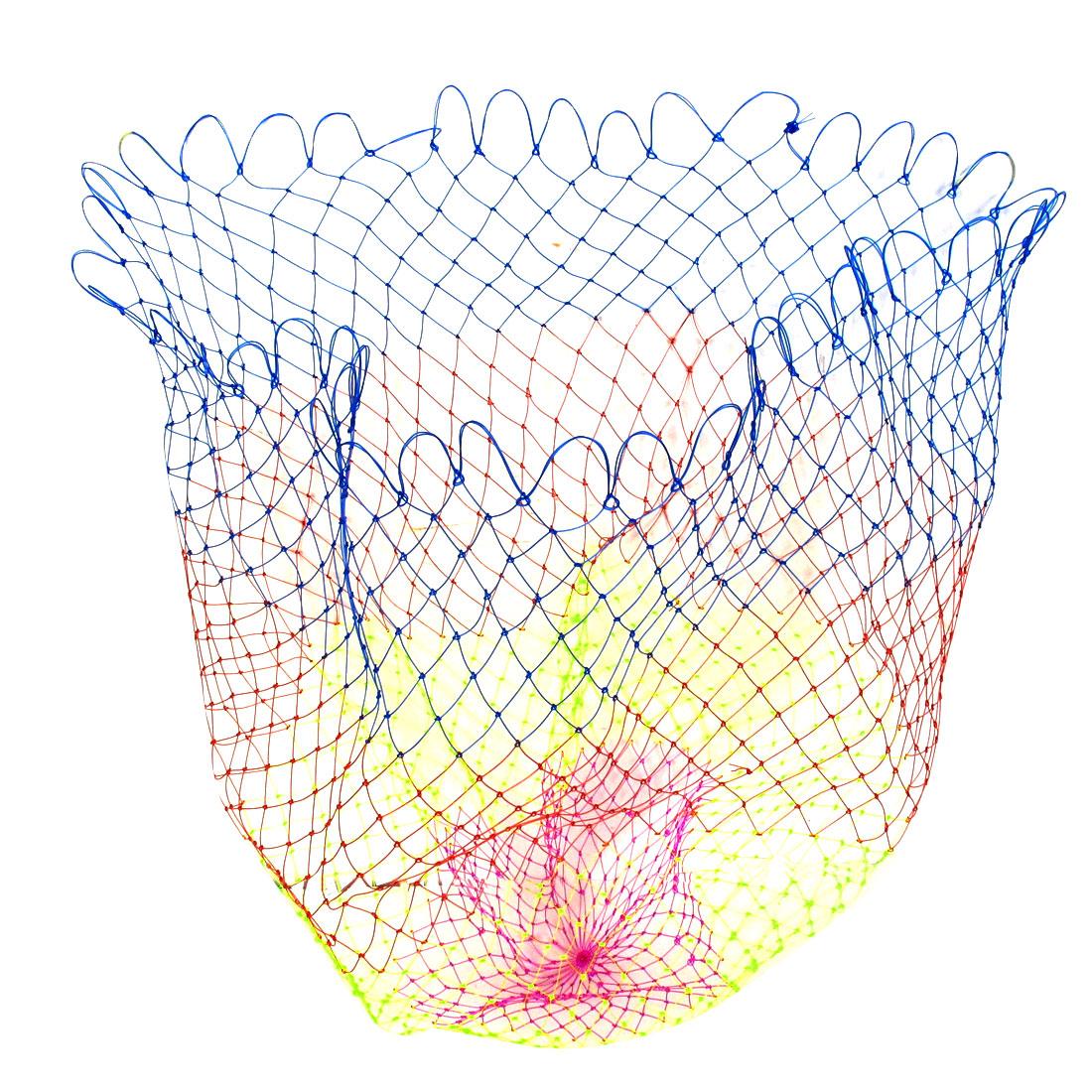 "Multicolor 3 x 2.2cm Mesh Hole 25"" Depth Foldable Plastic Fishing Net"