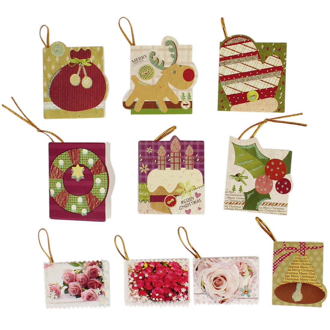 10Pcs Christmas Decorative Wishes Greeting Card Hanging Ornament