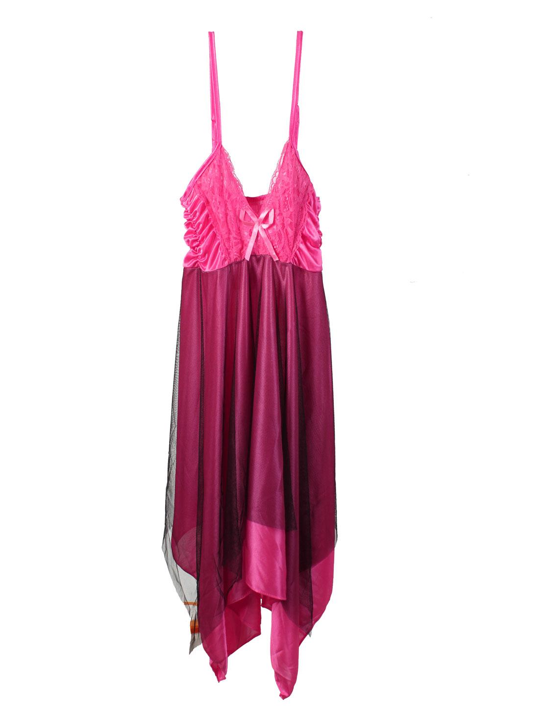Women Lace Decor Sexy Lingerie Babydoll Night Sleepwear Dress Fuchsia XS