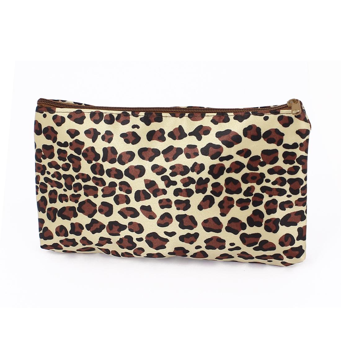 Lady Leopard Pattern Makeup Cosmetic Bag w Mirror Black Yellow