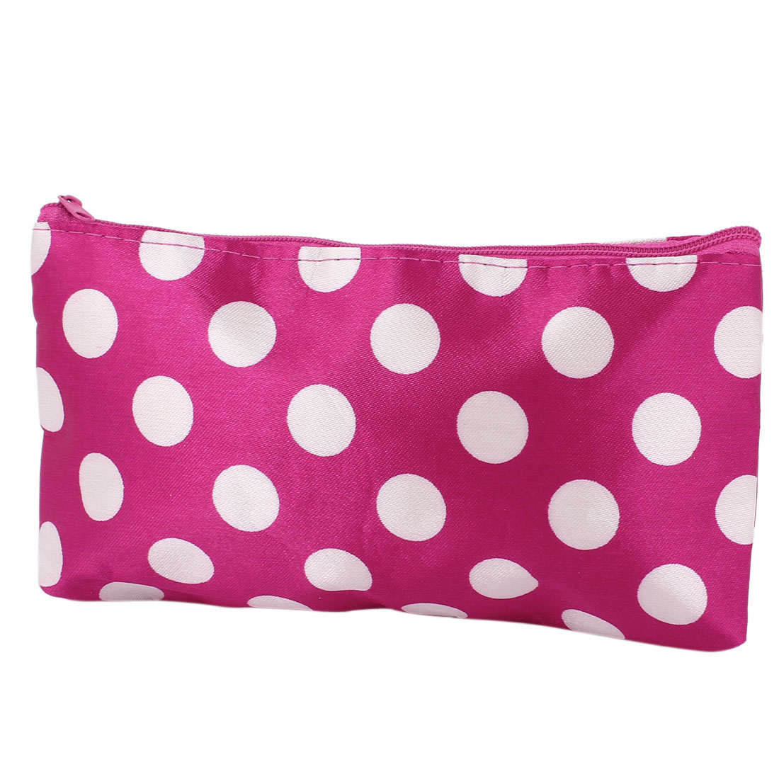 Lady Dots Pattern Makeup Cosmetic Bag Organizer w Mirror Red White