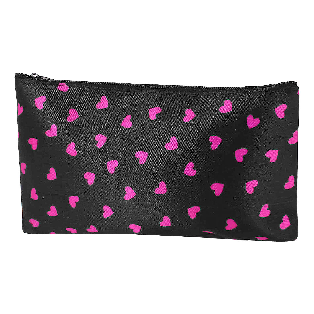 Lady Hearts Printed Makeup Cosmetic Bag Organizer Black Fuchsia