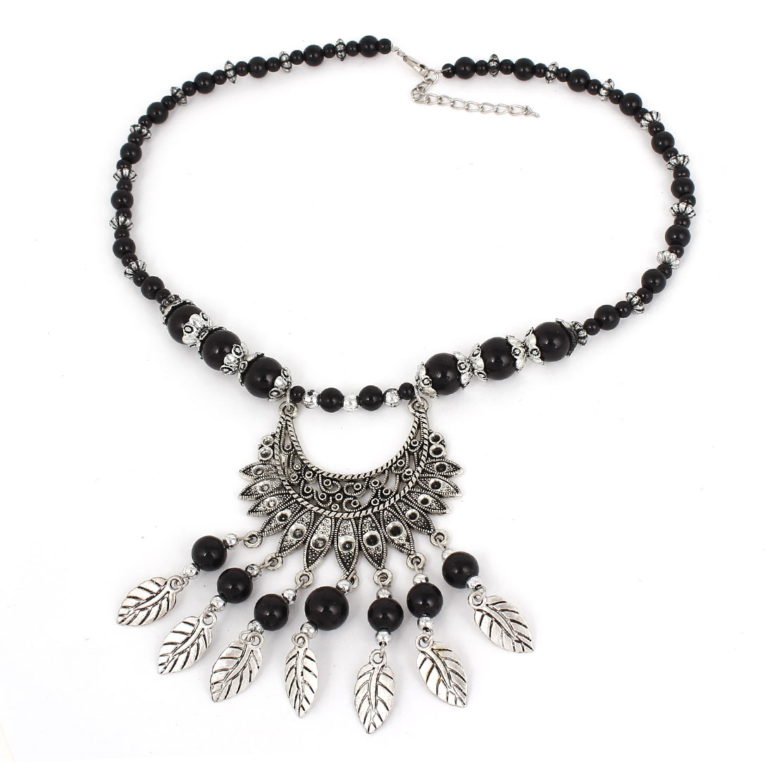Lady Black Beads Silver Gray Leaf Shape Pendant Party Bib Necklace