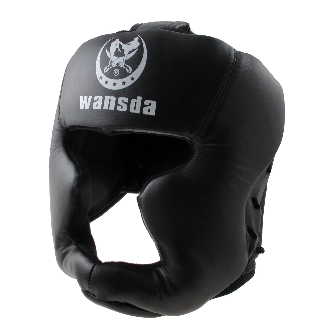 Faux Leather Padded Head Guard Helmet Training Kick Boxing Headgear Black