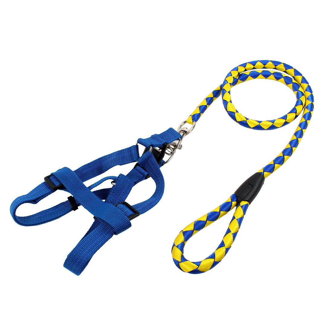 Pet Dog Doggie Nylon Rope Lead Adjustable Harness Leash Collar Blue Yellow
