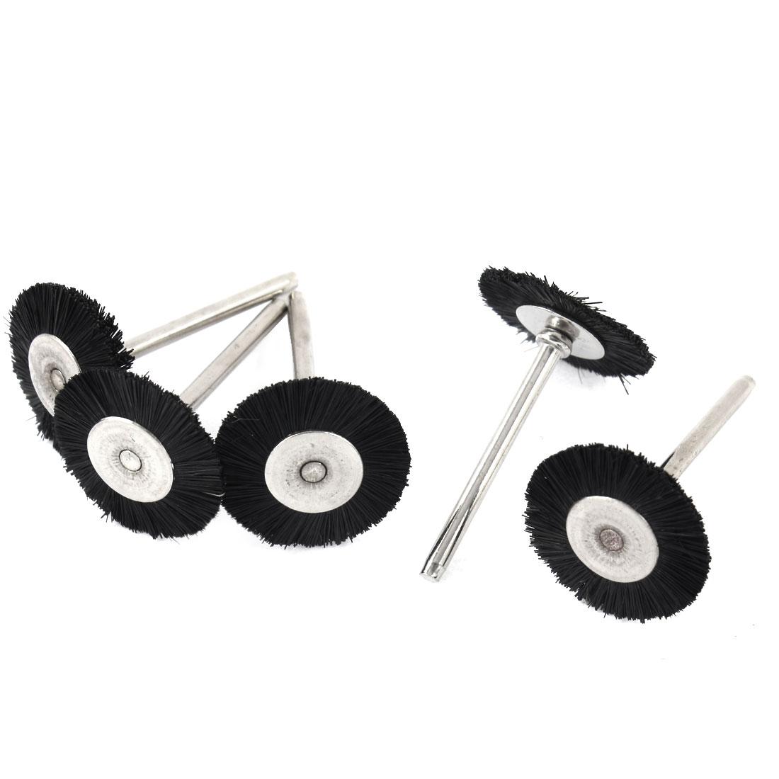 5 Pcs 3mm Shank 25mm Flat Nylon Bristle Wheel Brush Rotary Tool