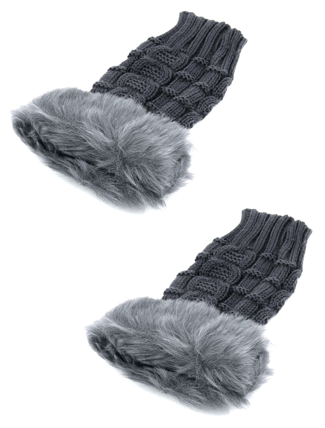 Ladies Warm Faux Fur Detail Elastic Knitted Computer Fingerless Gloves Pair
