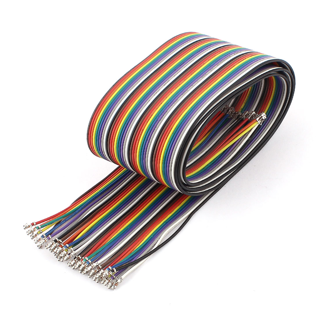 XH2.54 40P 80cm 2.54mm Flat Rainbow Ribbon Wire Male to Male Connector