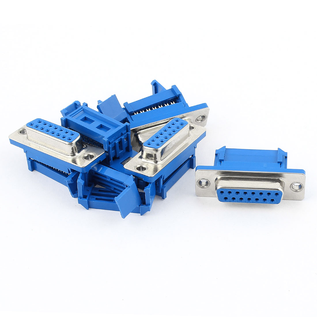 5pcs D-SUB DB15 15 Pin Female IDC Crimp Adapter Connector for Flat Ribbon Cable
