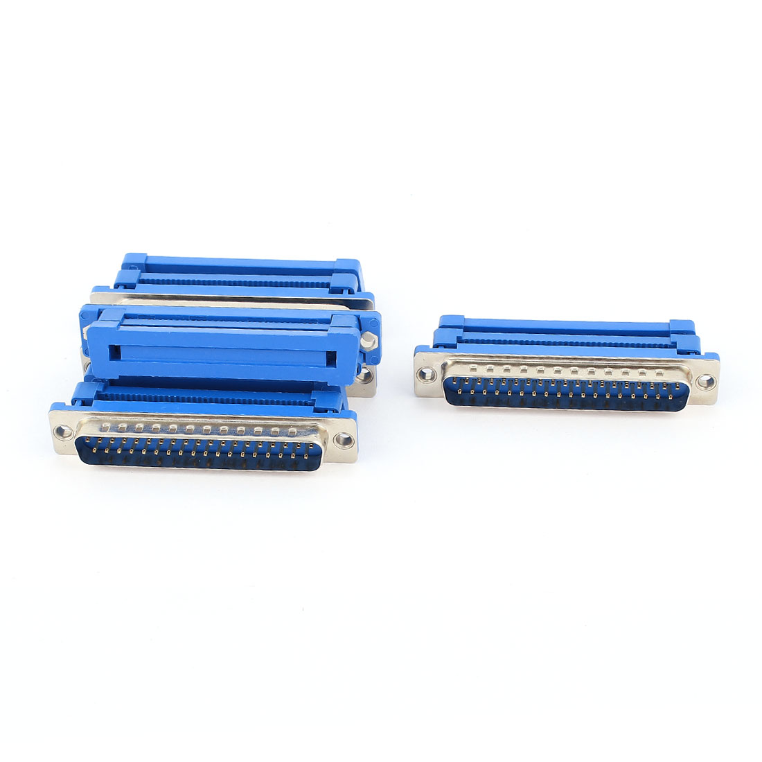 5Pcs Parallel Port DB37 Male IDC Flat Ribbon Cable Connector Blue 2.54mm
