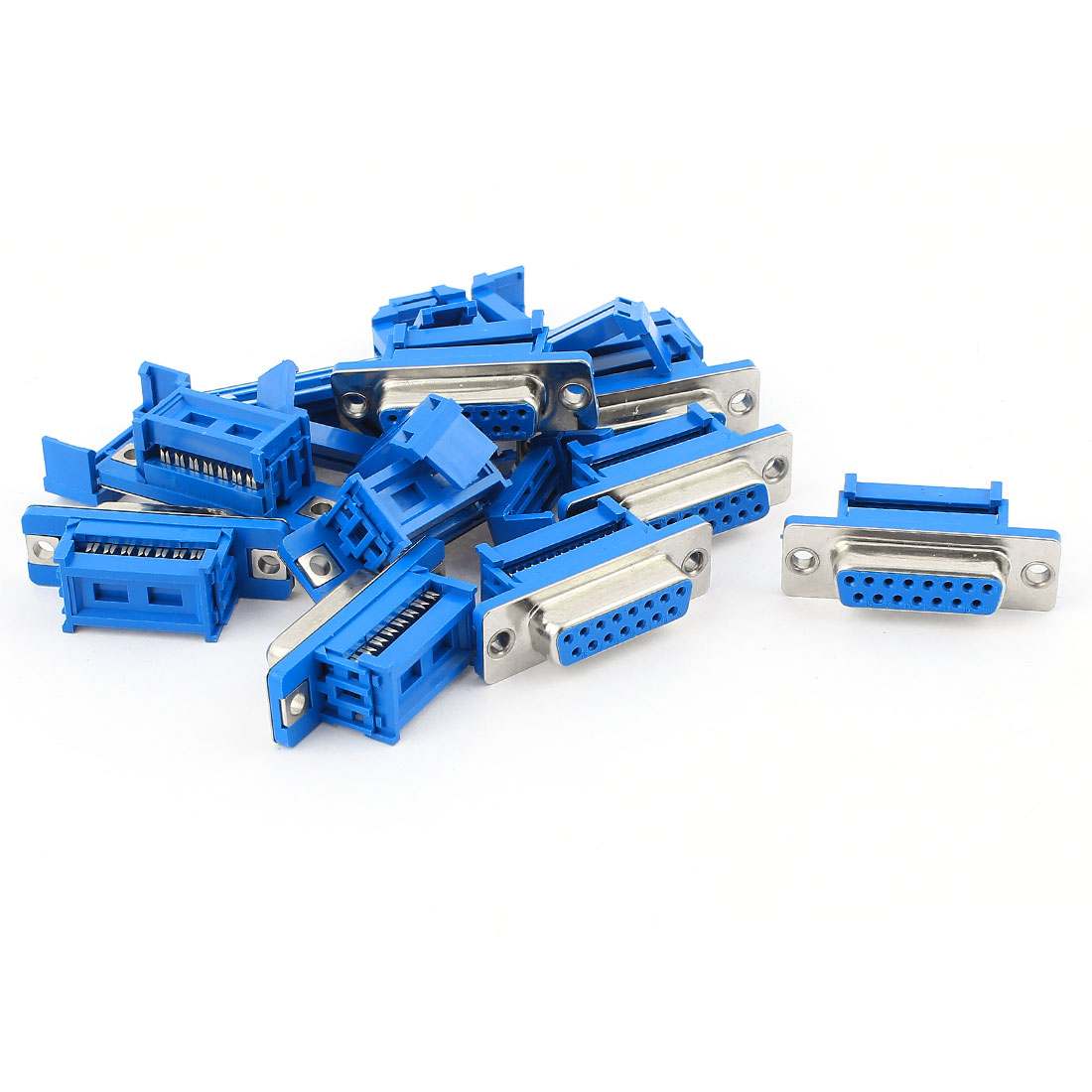 10pcs D-SUB DB15 15 Pin Female IDC Crimp Adapter Connector for Flat Ribbon Cable