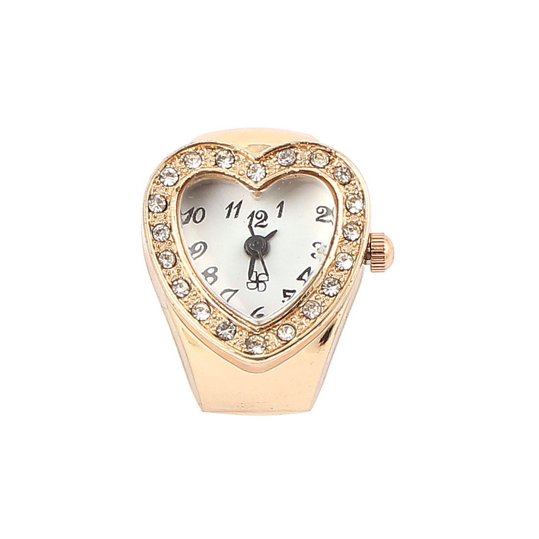 Lady Elastic Band Heart Analog Dial Finger Ring Watch Copper Color US 4 1/4