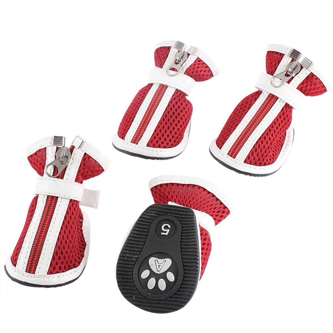 2 Pairs Red Hook Loop Closure Mesh Design Pet Dog Puppy Walking Shoes S