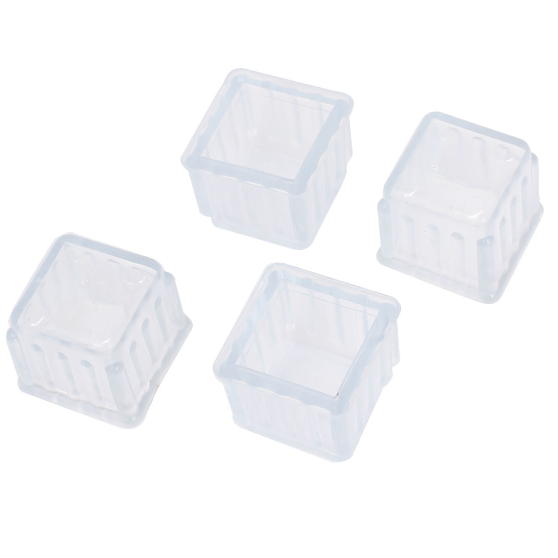 Furniture Chair Leg Foot Rubber Covers Square Protectors 21x21mm 4pcs Clear