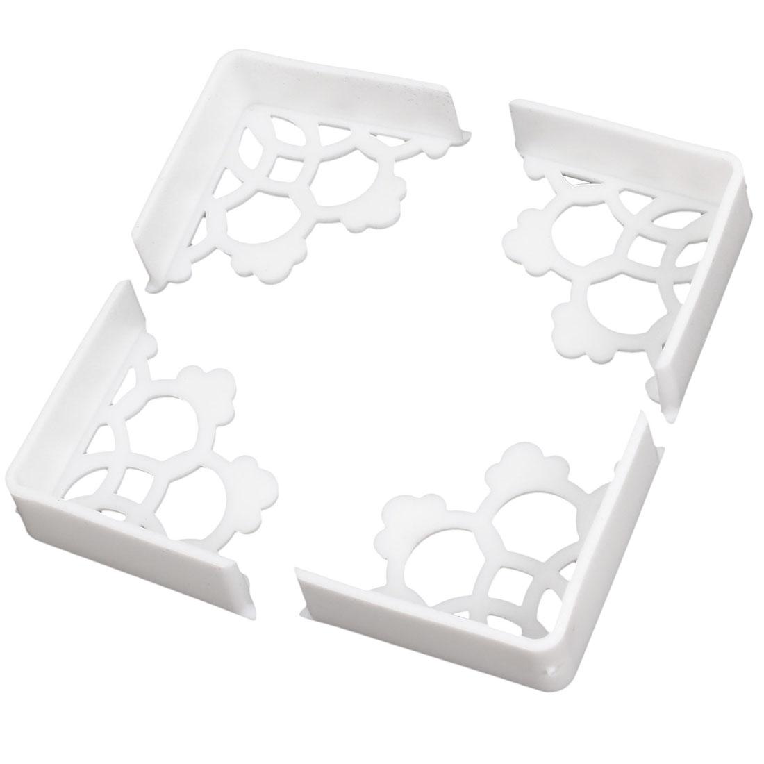 4 Pcs Rubber Flower Design Corner Edge Cushion Desk Table Cover Protector White