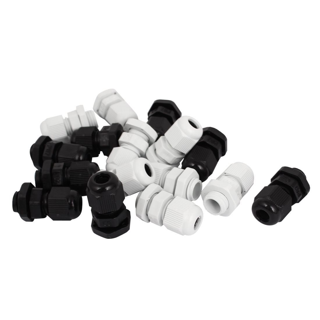 PG7 Waterproof Cable Glands Clamp White Black Plastic Connector 14pcs
