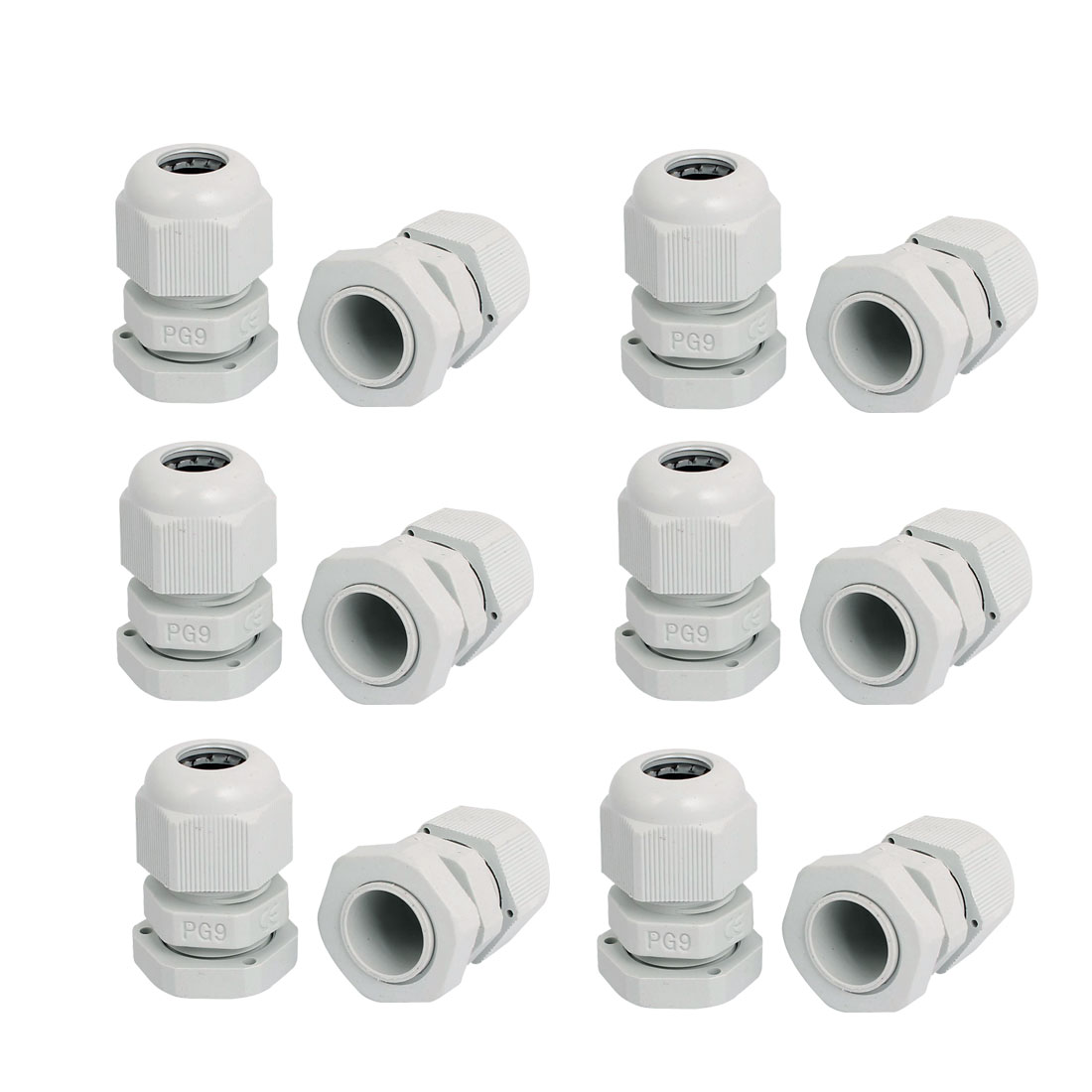 PG9 Waterproof Wire Cable Glands Clamp White Plastic Connector 12pcs