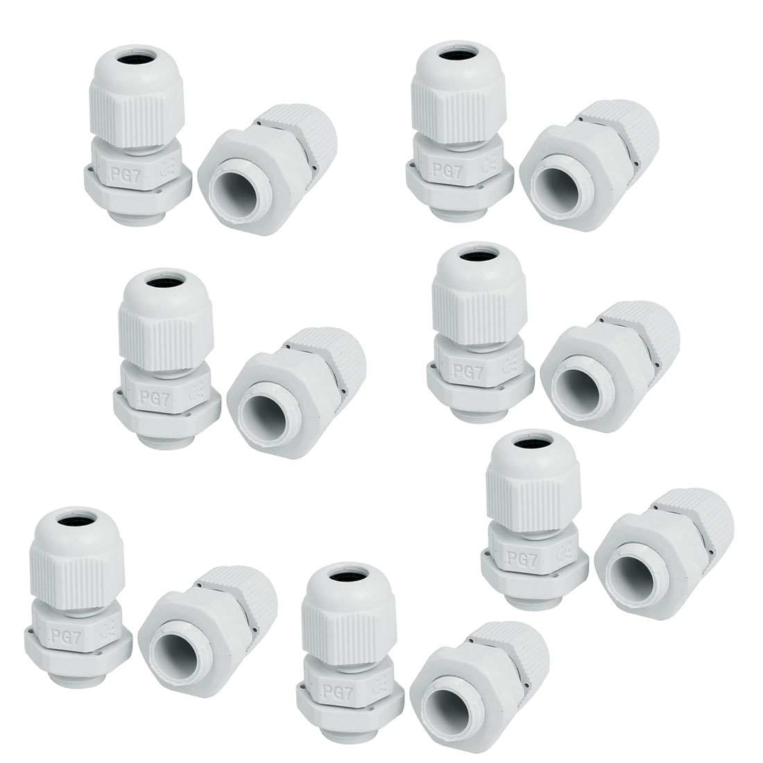 PG7 Waterproof Wire Cable Glands Clamp White Plastic Connector 14pcs