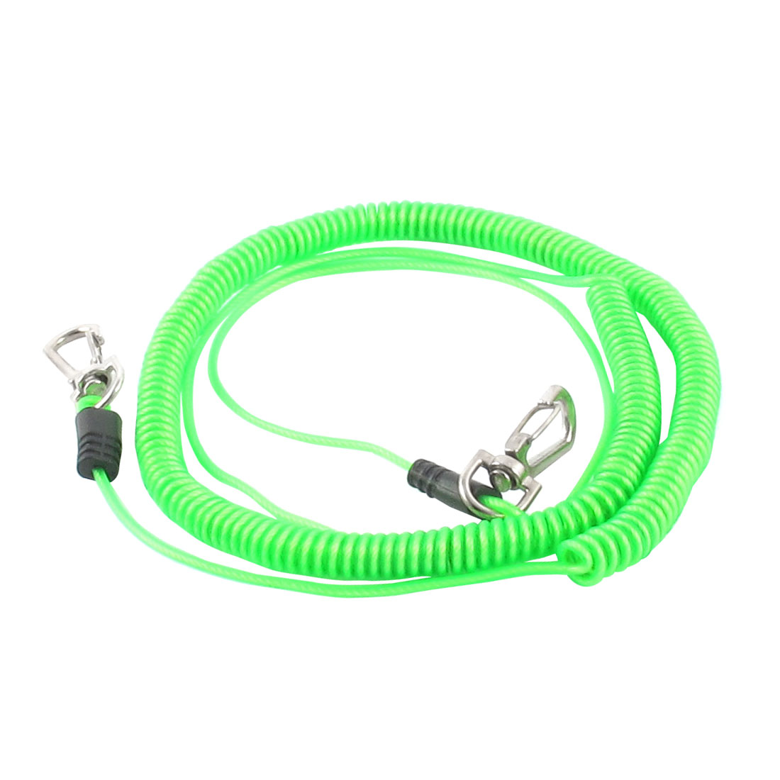 Fishing Rod Retractable Lobster Clasp Stretchy Coiled Lanyard Rope Cord Green 5M 16Ft
