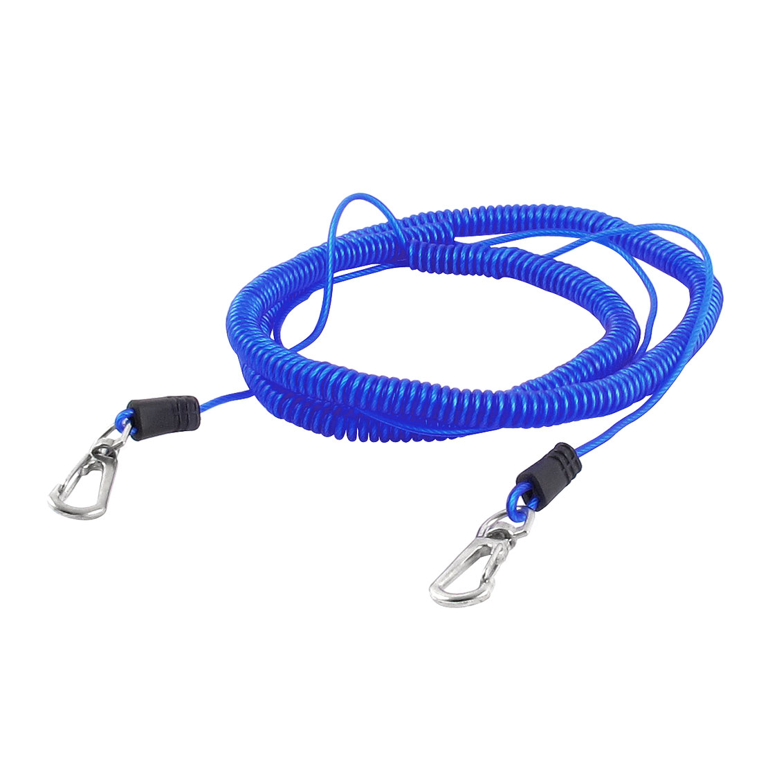 Fishing Rod Safety Lobster Clasp Stretchy Coiled Lanyard Rope Cord Blue 8M 26Ft