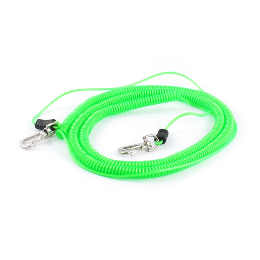 Fishing Rod Lobster Clasp Elastic Coiled Lanyard Rope Cord Green 10M 33Ft