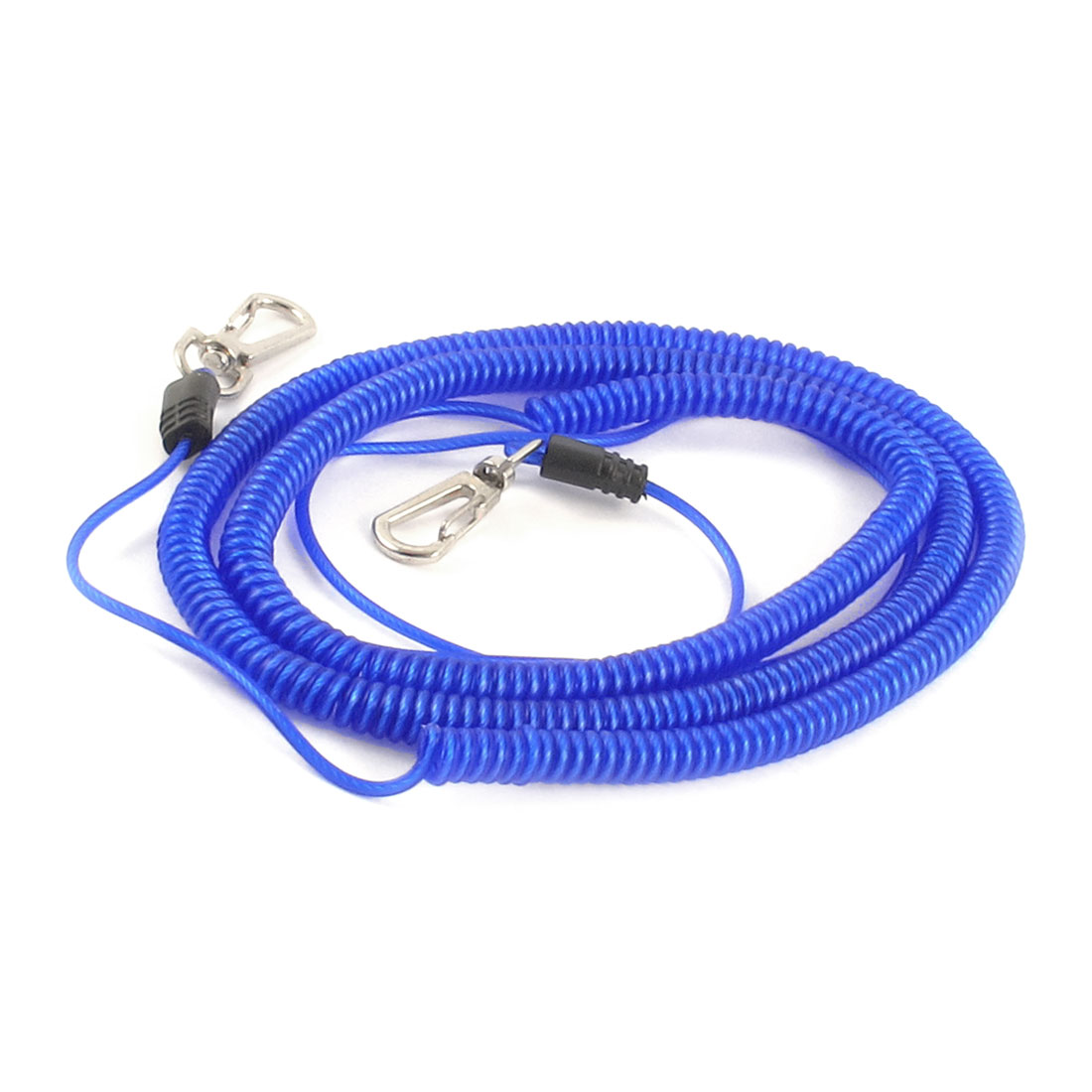 Fishing Rod Safety Lobster Clasp Stretchy Coiled Lanyard Rope Cord Blue 10M 33Ft