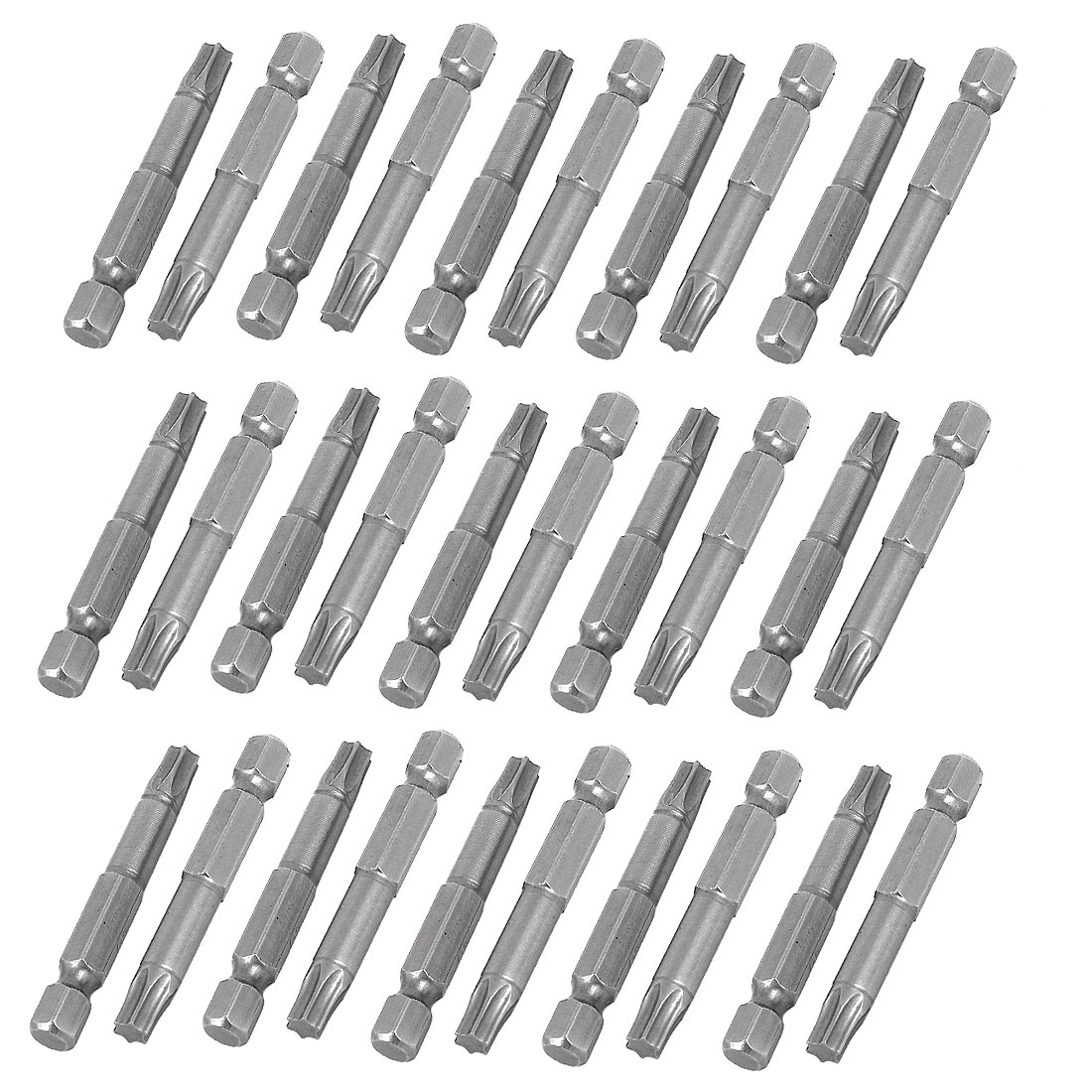 "T30 Head 1/4"" Dia Hex Shank Magnetic Torx Screwdriver Bits Gray 30pcs"