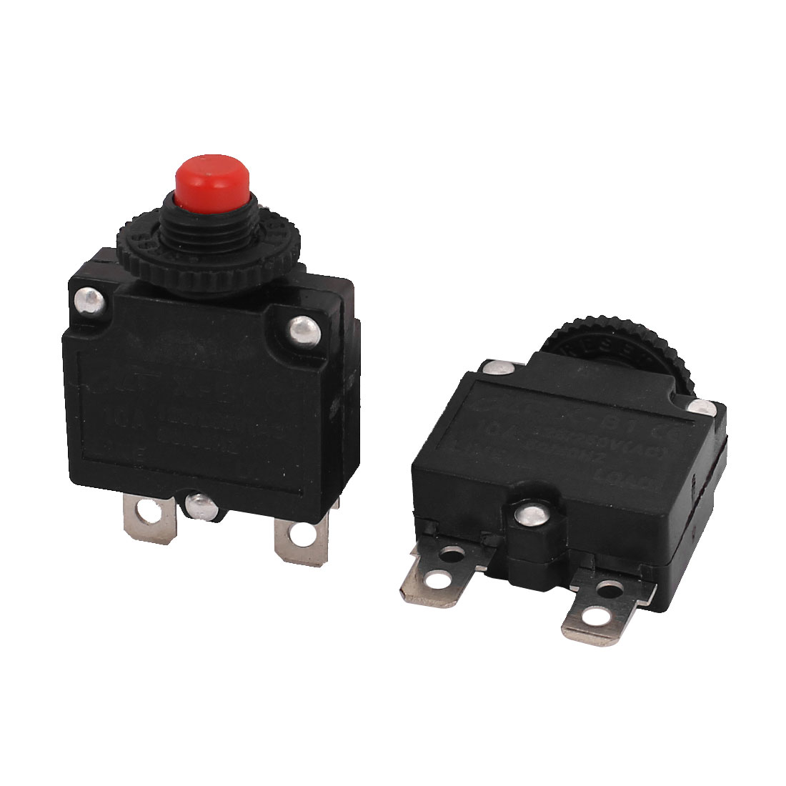 AC 125V/250V 10A 10mm Thread NC Push Reset Overload Circuit Breaker 2pcs