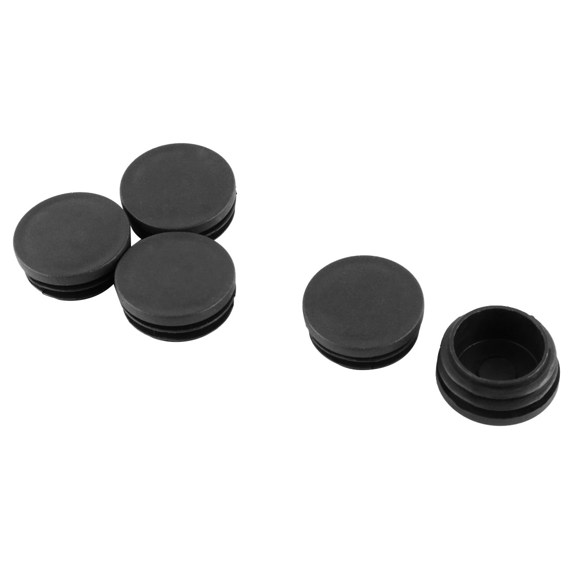 Chair Table Legs 38mm Diameter Plastic Cap Round Ribbed Tube Insert Black 5 Pcs