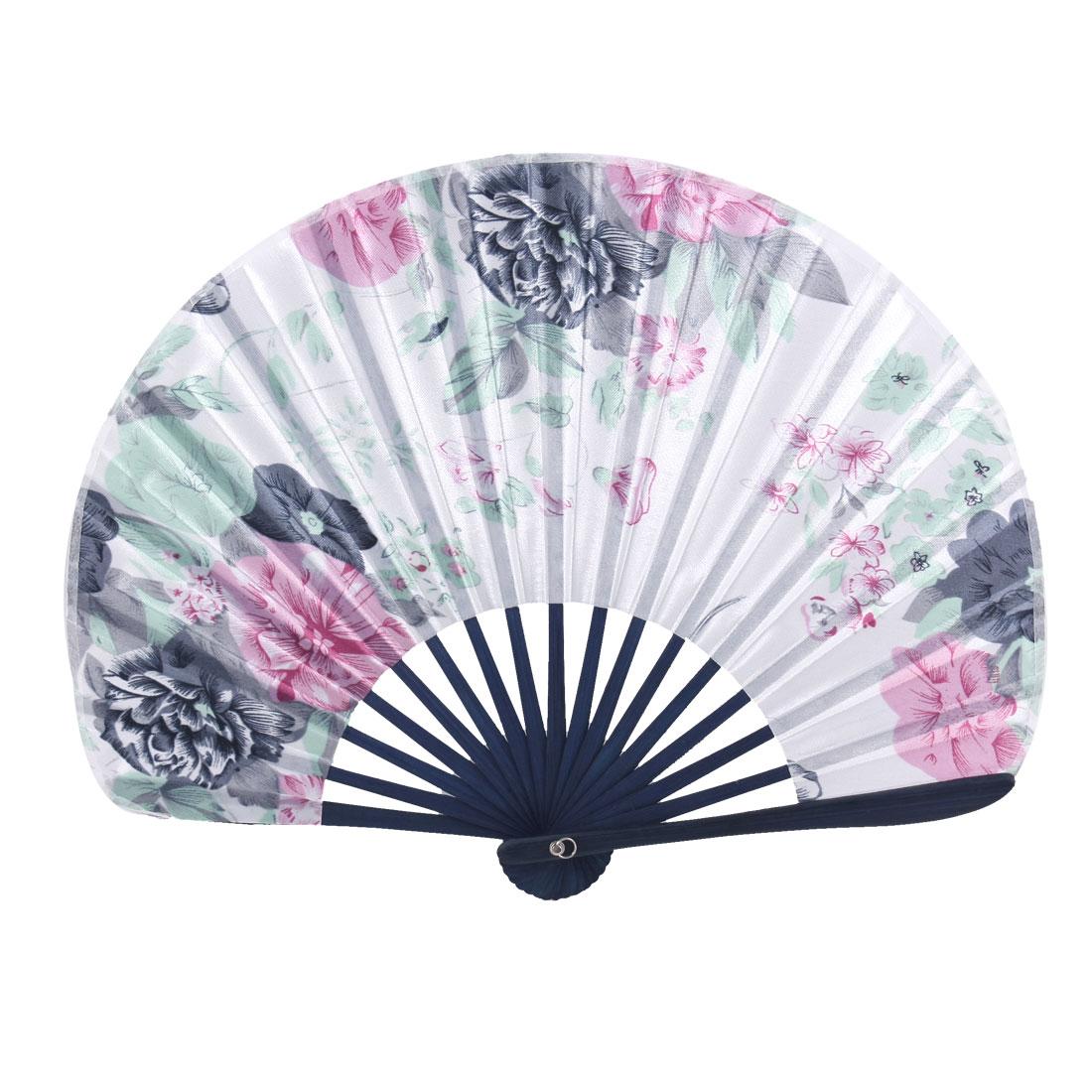 Multicolors Flowers Pattern Bamboo Handgrip Folding Hand Fan