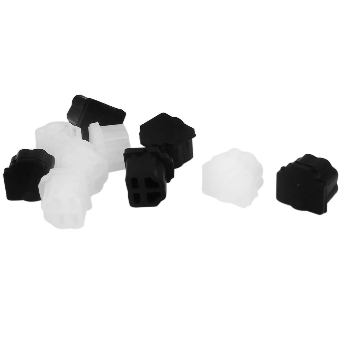 Black Clear Rubber RJ11 Connector Port Anti Dust Hat Protector Cover 10PCS