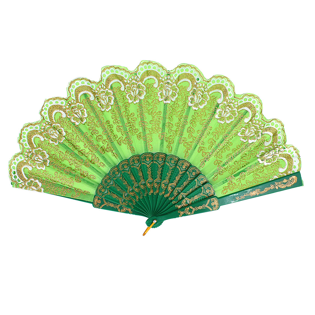Summer Portable Chinese Style Glitter Powder Decor Foldable Hand Fan Green