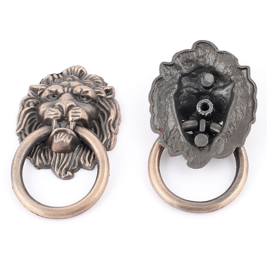 2pcs Vintage Style Cupboard Cabinet Drawer Door Drop Lion Ring Pull Knobs Handle