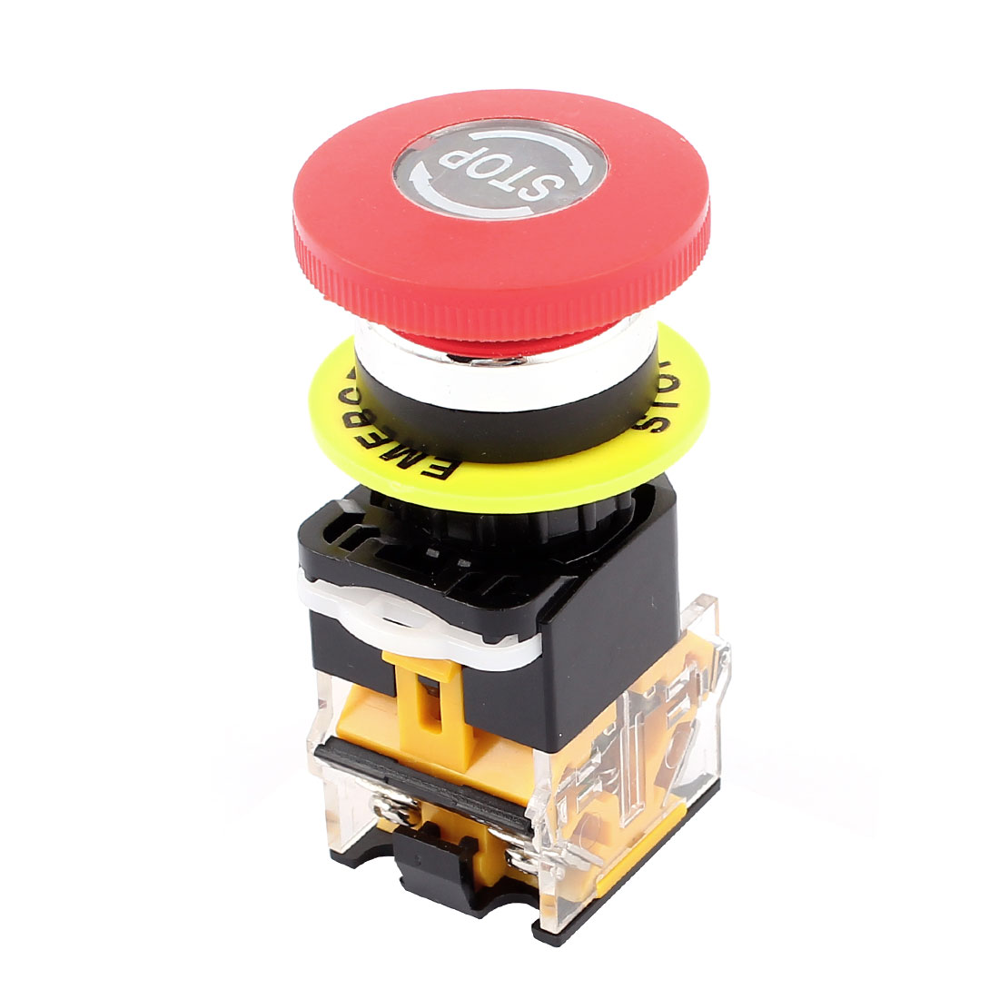 380V 10A Red 22mm Thread Dia Rotary Reset Emergency Stop Push Button Switch
