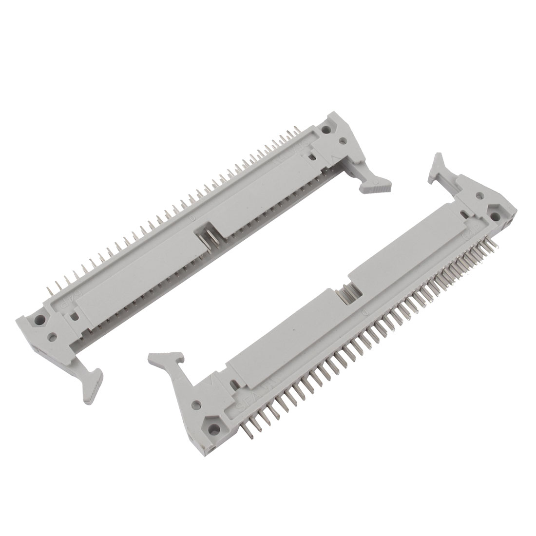 Dual Rows 2.54mm 64Pins Lock Type Straight IDC Pin Headers Connector 2Pcs