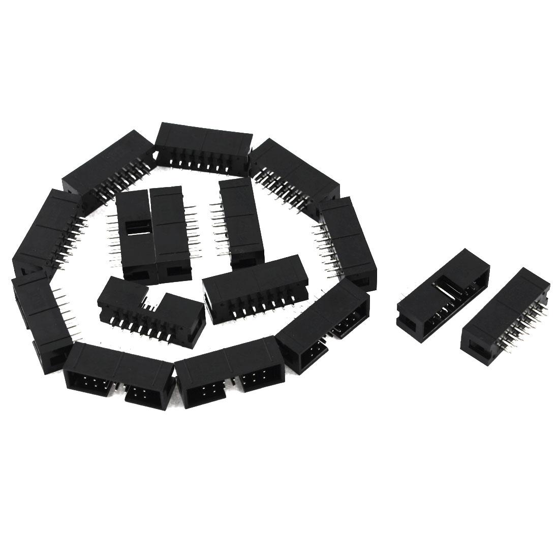 16 Pcs Dual Row Straight 14 Pin 2.54mm Male Header Socket Strip PCB Connector