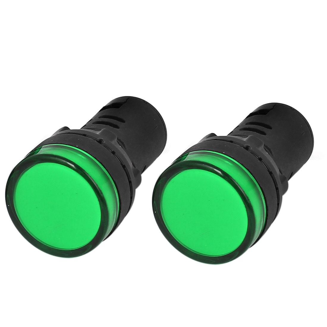 2pcs AD16-22D/S22 Plastic Housing Green LED Indicator Signal Lamp AC/DC12V 20mA